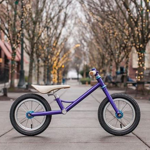 The scoot bike frame, powdercoated purple with light blue Chris King accents, make me wish I had this as a child.