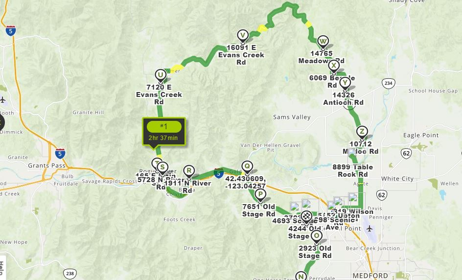 Map of the Evans Creek Road Ride