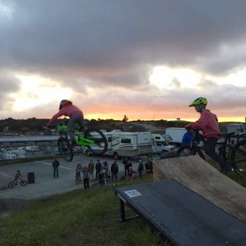 Kiddos still hitting jumps after the day is over.