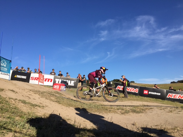 Jill Kintner winning the Dual Slalom race.