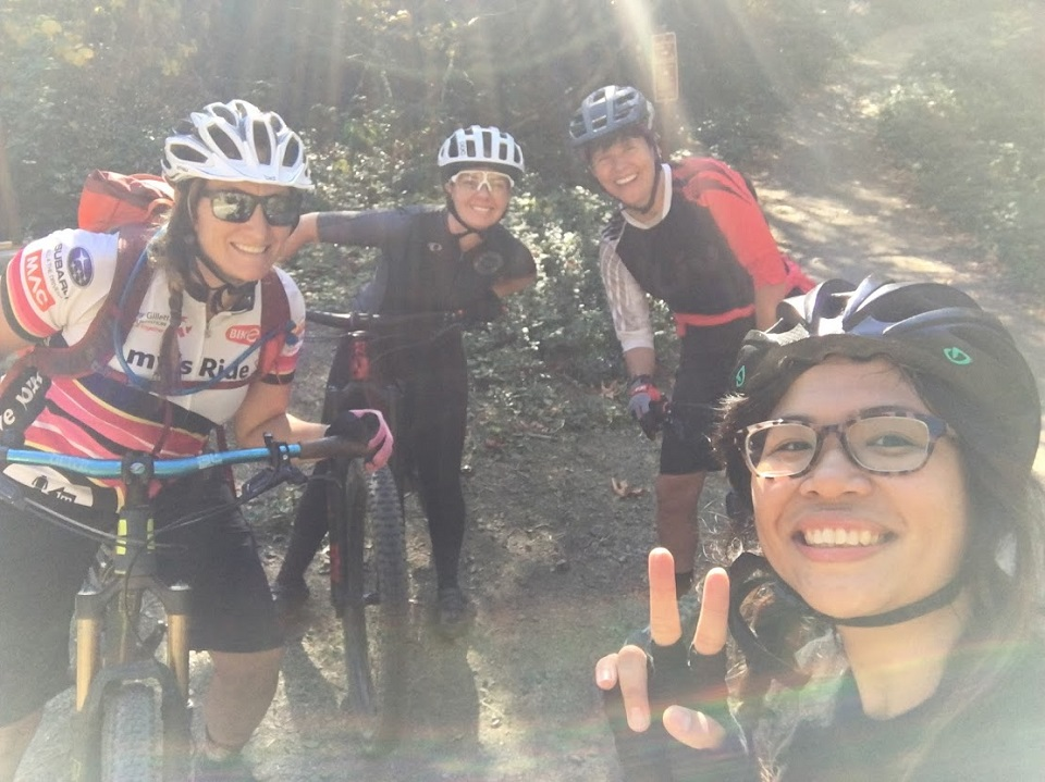 Jennifer Drinkwalter, Sarah Ferrer, Lynette Wood, and Fajardo tackle a mountain bike ride on Sunday between the two weeks of bicycle repair school.