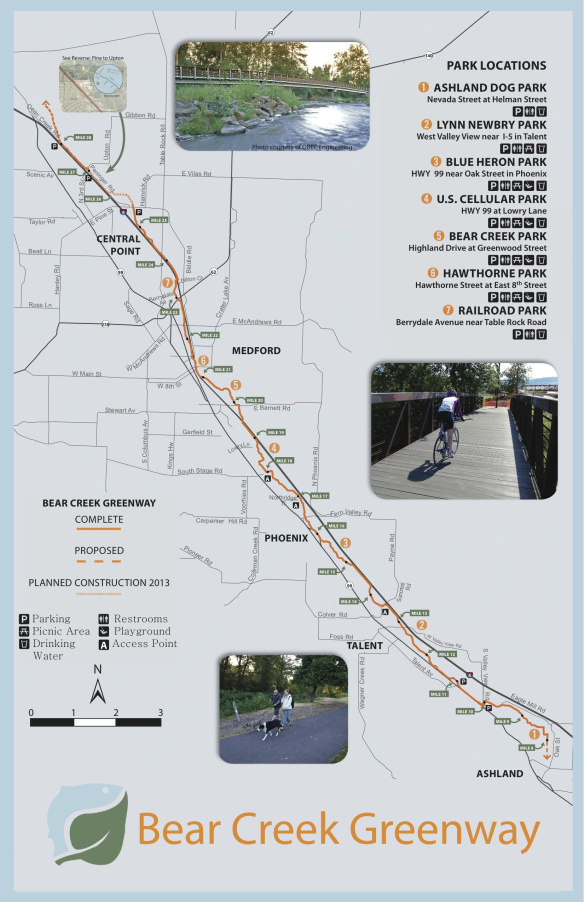 The Bear Creek Greenway is a great bail-out route between Central Point and Ashland.
